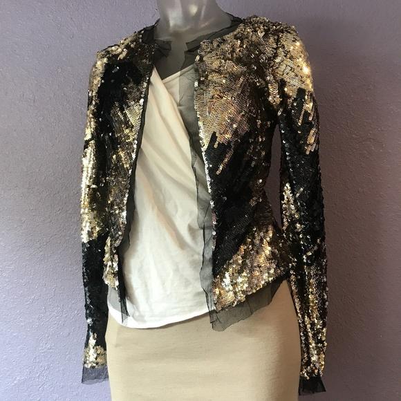 6b8bdb19ee2 BCBGMaxAzria Jackets   Blazers - MAX AZRIA COLLECTION  648 Gold Black  Sequin Jacket
